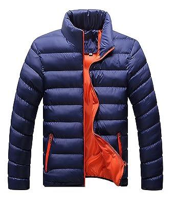 Hombres Caliente Abrigo con capucha sudadera abrigo anorak invierno chaqueta abajo Negro (M, azul Naranja): Amazon.es: Ropa y accesorios