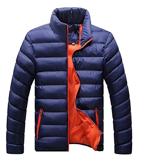 Hombres Caliente Abrigo con capucha sudadera abrigo anorak invierno chaqueta abajo Negro (M, azul