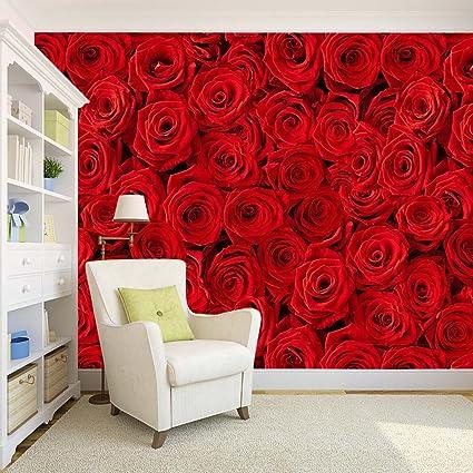 100yellow Red Roses Pattern Self Adhesive Peel And Stick Waterproof Wallpaper 1066 X 12 Feet
