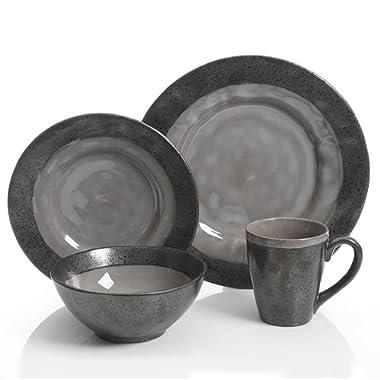 Gibson Dragonstone 16 pc Dinnerware Set Grey Stoneware