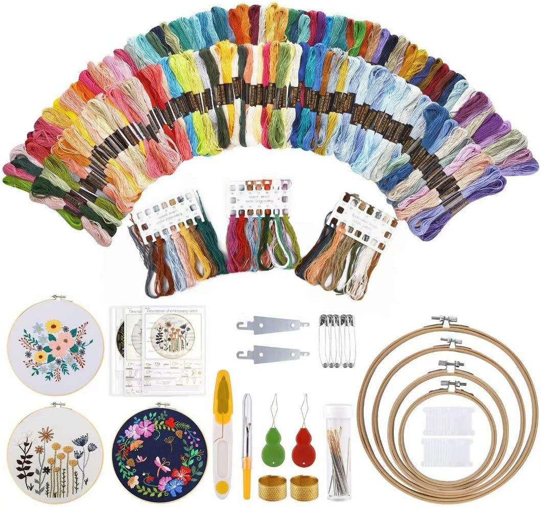 Embroidery Starter Kit, Embroidery Floss Kit Include 150pcs Color Embroidery Threads,4pcs Bamboo Embroidery Hoops,3pcs Embroidery Cloth with Pattern and Instruction Cross Stitch Tool Kit for Beginners