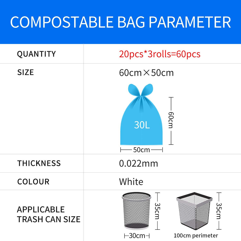 Bolsas de basura biodegradables para cocina 30 L, 100/% biodegradables, 60 x 50 cm, 60 unidades XingDi color blanco