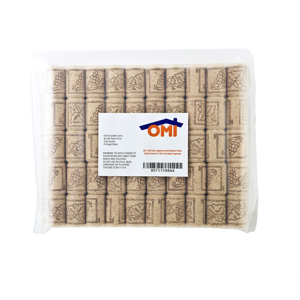 Omi 100 Pack Agglomerated Natural Wine Bottle Corks - #9 Portugal Made 100 Wine Bottle Homemade Craft