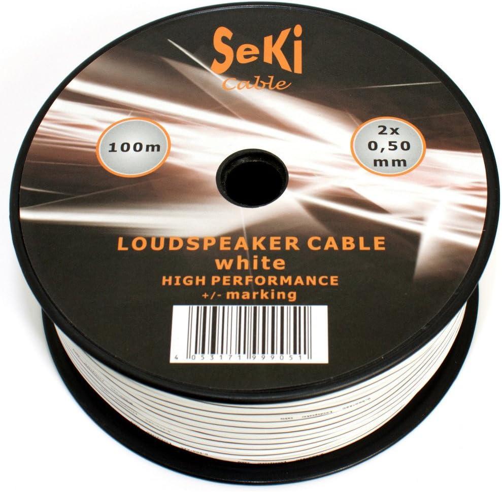 Lautsprecherkabel 2x0 50mm2 100m Weiss Cca Audiokabel Boxenkabel Audio Hifi
