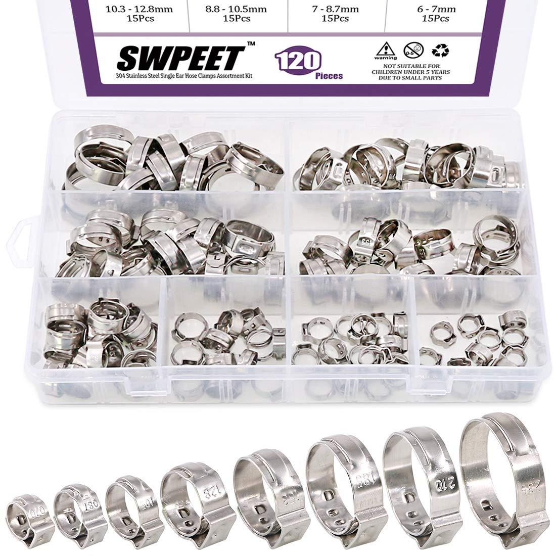 Swpeet 120Pcs 8 Sizes 304 Stainless Steel Single