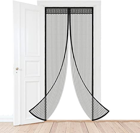 Longsing Porte Moustiquaire Moustiquaire Magn/étique avec Plein Cadre Velcro et Aimants Fermeture Automatique pour Portes fen/êtres Anti Moustiques Mouches 90 x 210cm