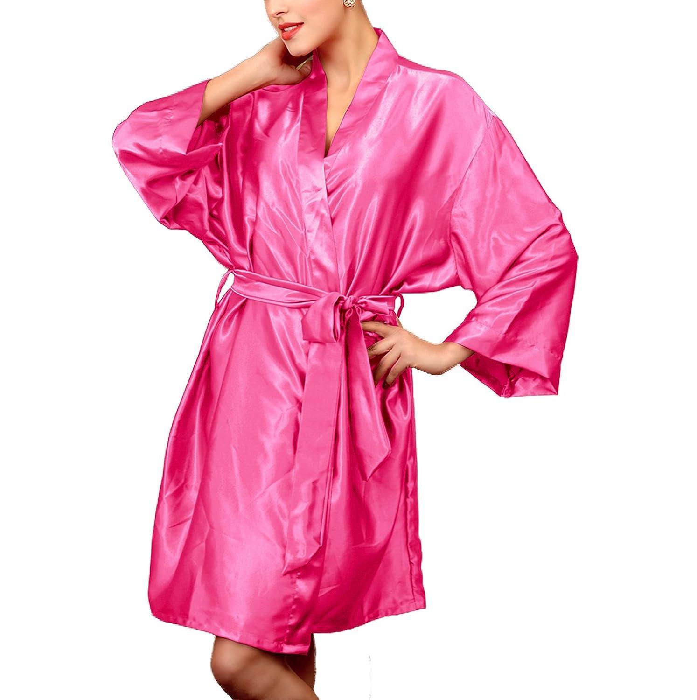 Assky Unisex Lightweight Satin Sleep Robe Kimono Gown, Bathrobe for Women & Men
