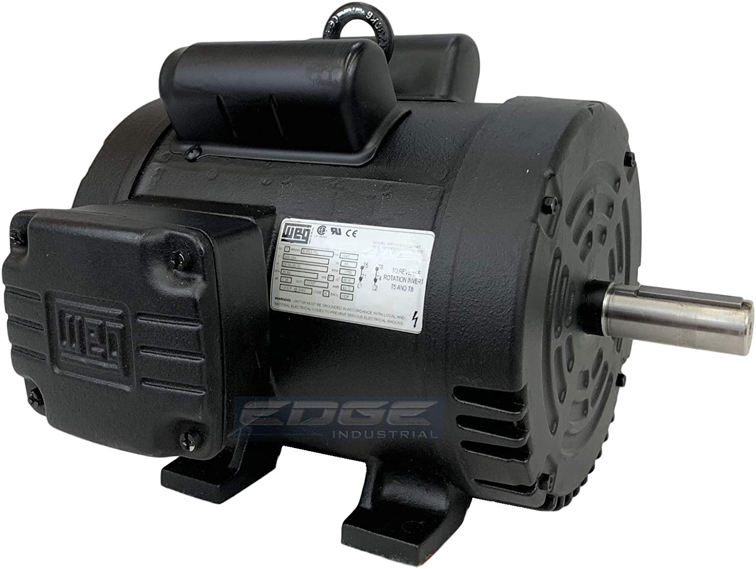 NEW 5HP 184T FRAME WEG ELECTRIC MOTOR FOR AIR COMPRESSOR 1750 RPM 230V 21.5 AMP