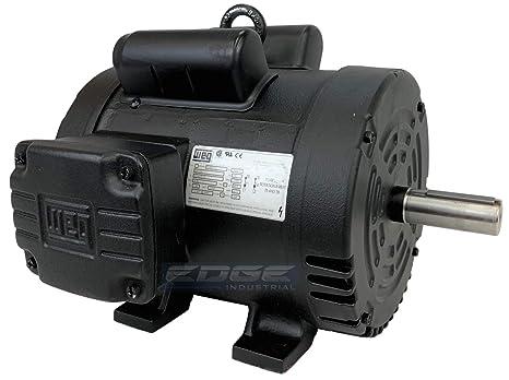 NEW 5HP 184T FRAME WEG ELECTRIC MOTOR FOR AIR COMPRESSOR 1750 RPM 230V 21 5  AMP