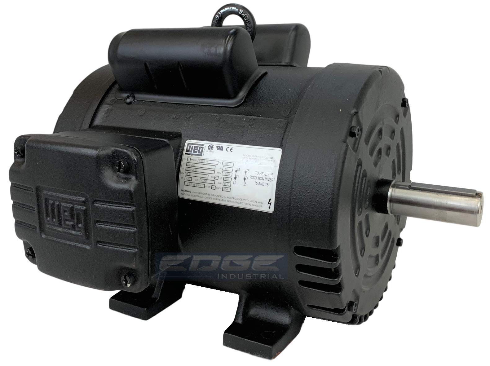 NEW 5HP 184T FRAME WEG ELECTRIC MOTOR FOR AIR COMPRESSOR 1750 RPM 230V 21.5 AMP by WEG (Image #1)