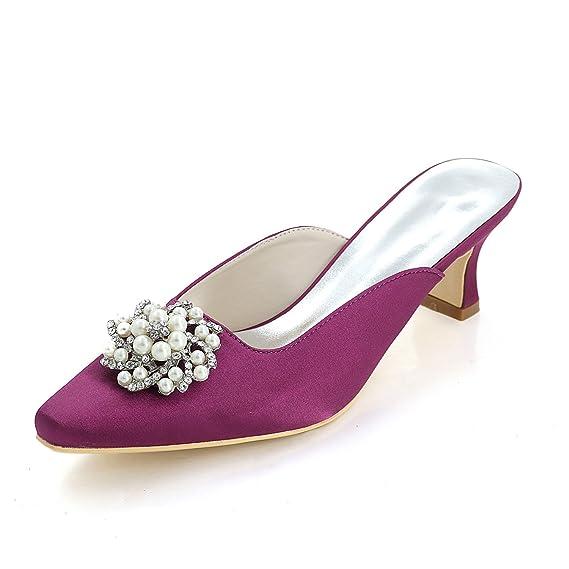 8b6fe7b1dbe Women s Satin Wedding Shoes Basic Pump Heels Square Toe Bridal Dress ...