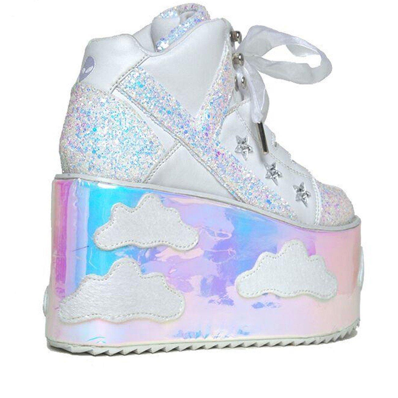 c4c00f1cc9 Amazon.com | YRU 'Qozmo Sky Sky', Hologram, Cloud Scene Platform | Fashion  Sneakers
