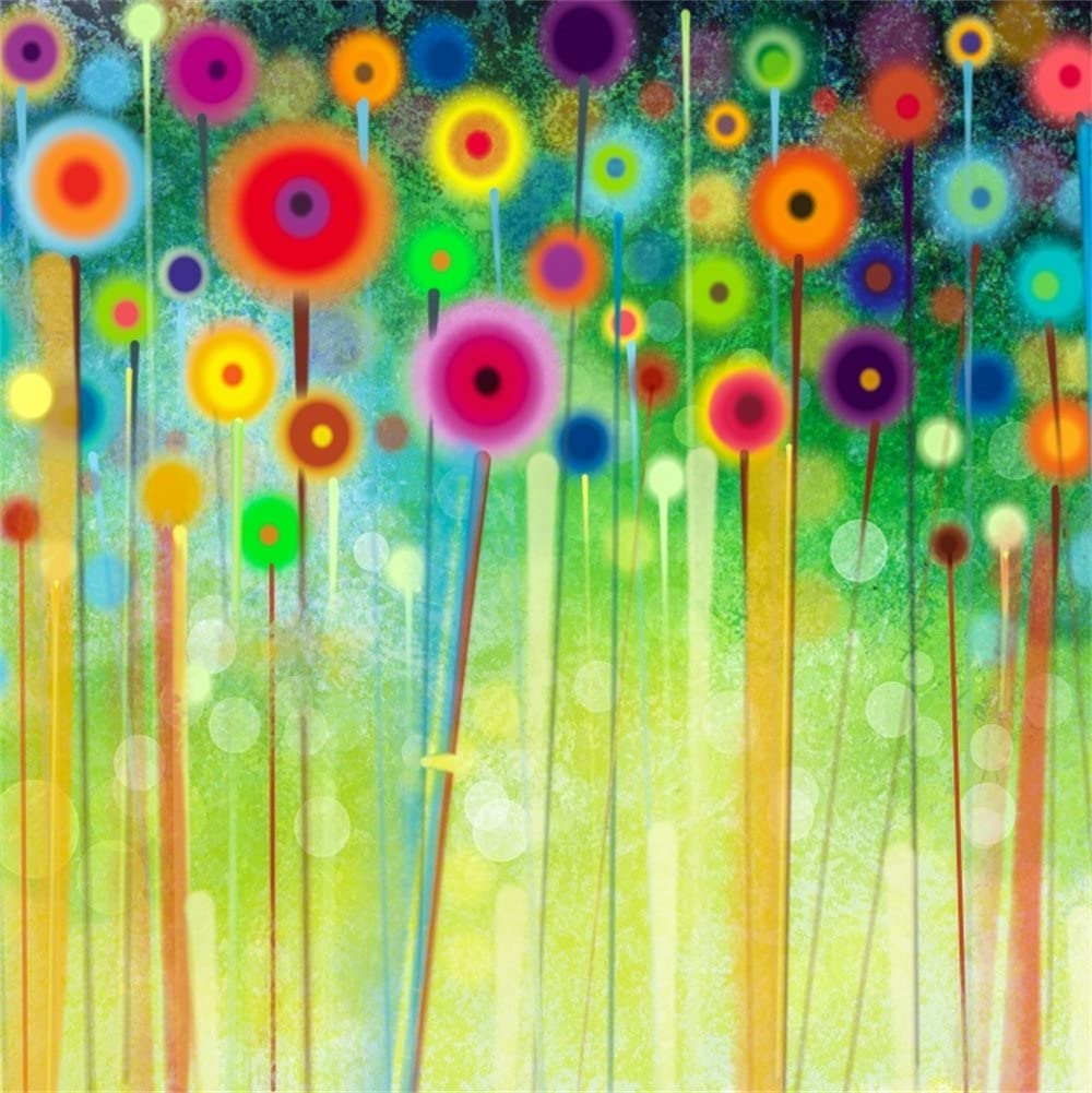LFEEY 10x10ft Wildflowers Backdrop Colorful Outdoor Abstract Flowers Scenery Bokeh Photo Background for Portrait Kids Baby Newborn Girls Photo Studio Props