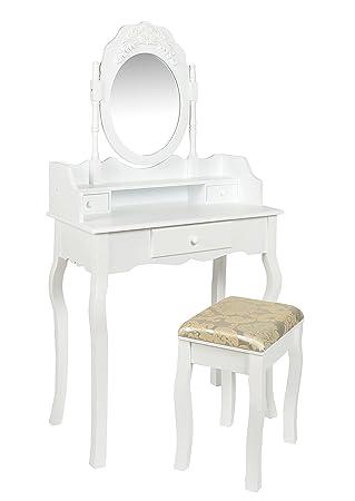tsideen tocador mueble de maquillaje blanco espejo mujeres peluquero taburete