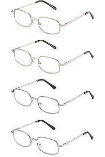 2ec628ceea JM 4 Pares Bisagras de Resorte Gafas de Lectura Acero Inoxidable Metal  Lectores Para Hombre y