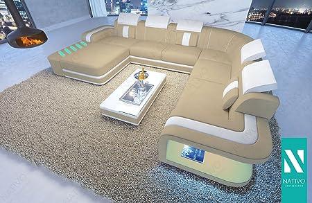 Nativo Luxus Ledermix Designer Sofa Space Xxl Mit Led Beleuchtung