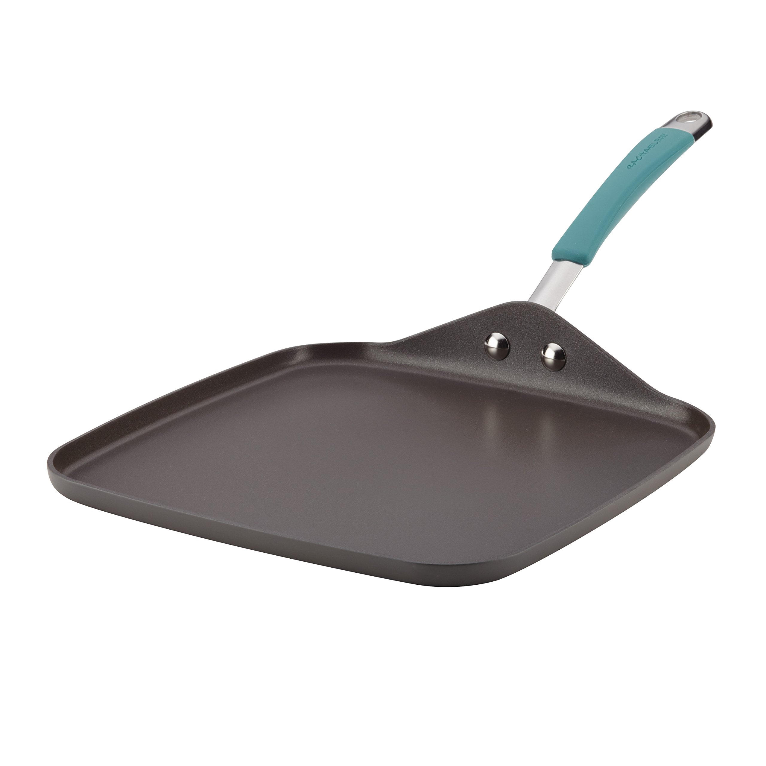 Rachael Ray Cucina Hard Anodized Nonstick Griddle Pan/Flat Grill, 11 Inch, Gray with Agave Blue Handle