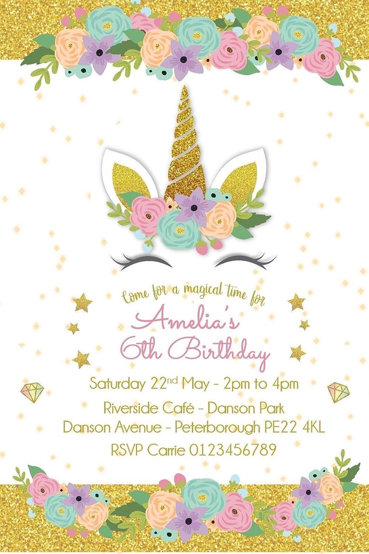 Invitaciones personalizadas con diseño de unicornio para ...