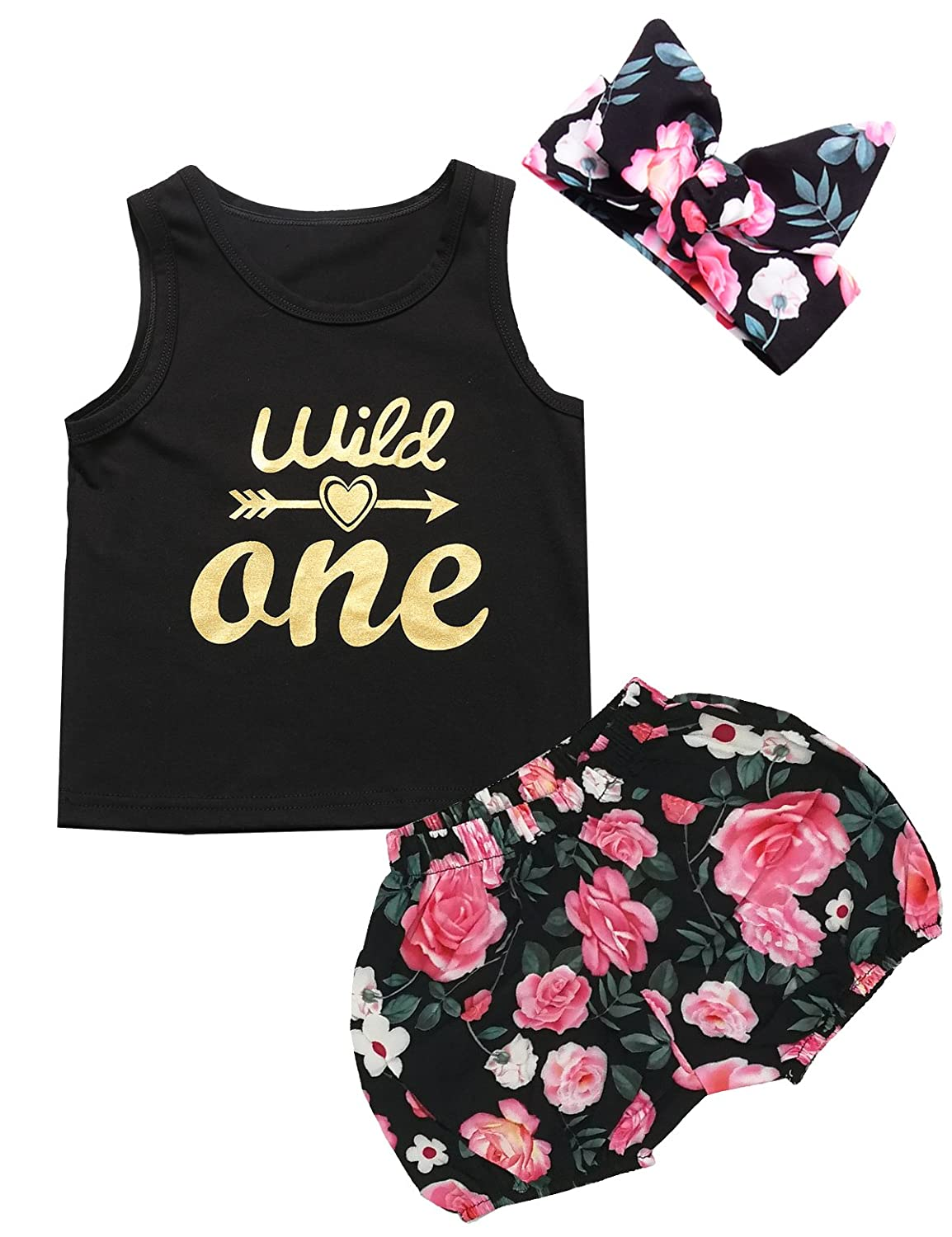 Baby Girls' 3PCS Outfit Wild One Floral Shirt Pants with Headband