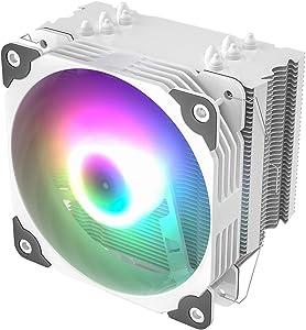 Vetroo V5 White CPU Air Cooler w/ 5 Heat Pipes 120mm PWM Processor Fan Intel LGA 1200 115X / AMD Ryzen AM4 Universal Socket w/Addressable RGB Lights