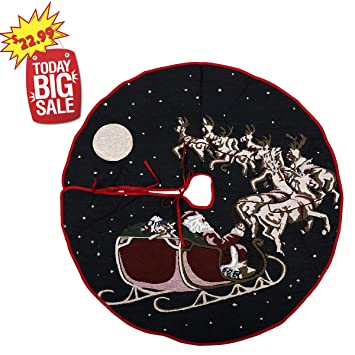 Black Friday Deals 36 Inch Christmas Tree Skirtwith Santa And Reindeer Holiday Decoration Ornaments