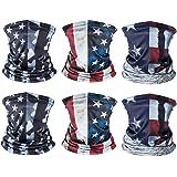 American US Flag Face Bandana Neck Gaiter, Reusable Washable Cloth Fabric Scarf Motorcycle Balaclava for Men Women