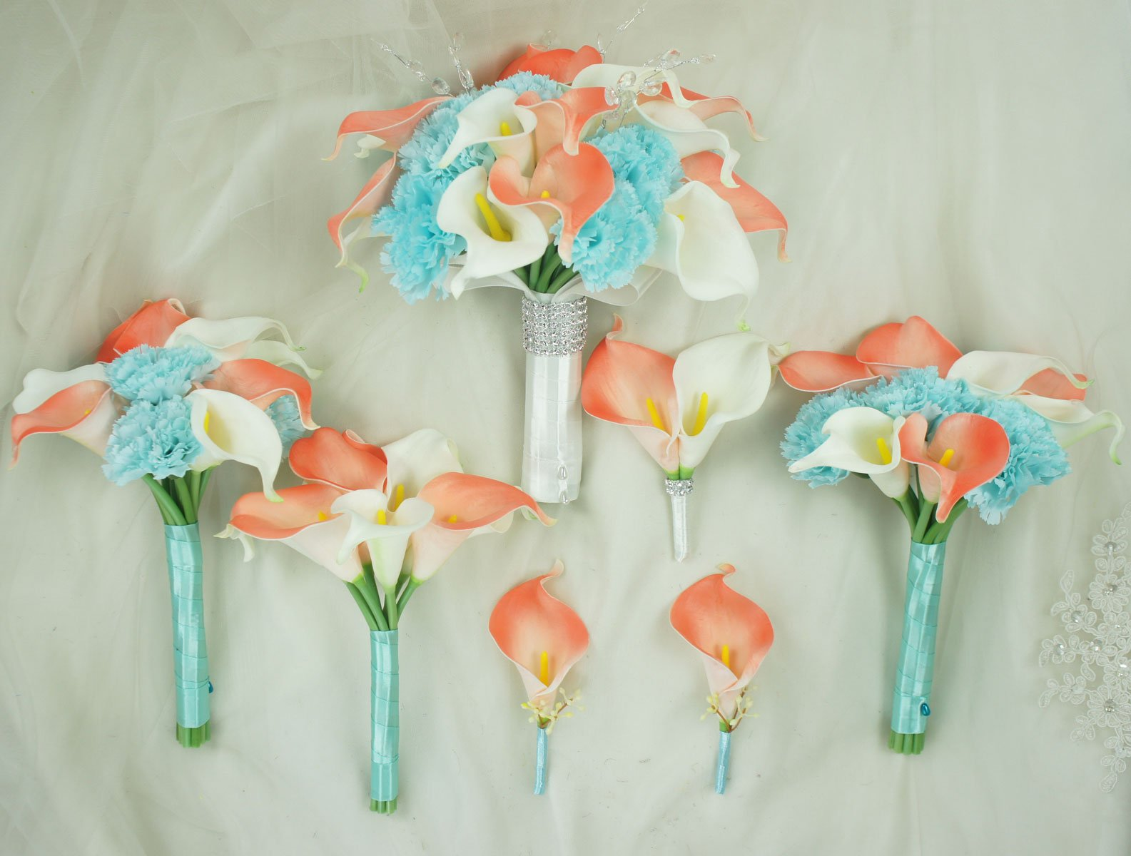 Lily-Garden-Real-Touch-Calla-Lily-Coral-and-White-and-Carnation-Turquoise-Flowers-Wedding-Bouquet