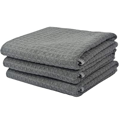 VIVOTE Car Drying Towels Microfiber Waffle Weave Towels Lint Free Car Cleaning Cloth Scratch-Free 3 Pack 16 x 22 Inch Gray: Automotive