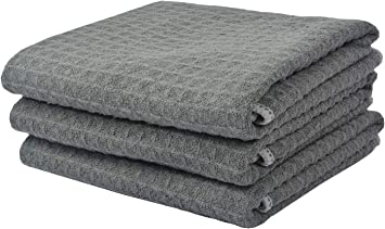 KinHwa Scatch Free Auto Detailing Towels Large Microfiber Car Drying Towels Super Absorbent Car Cleaning Towels Lint Free Waffle Weave Car Wash Towel 16Inch x 24Inch 3 Pack Gray