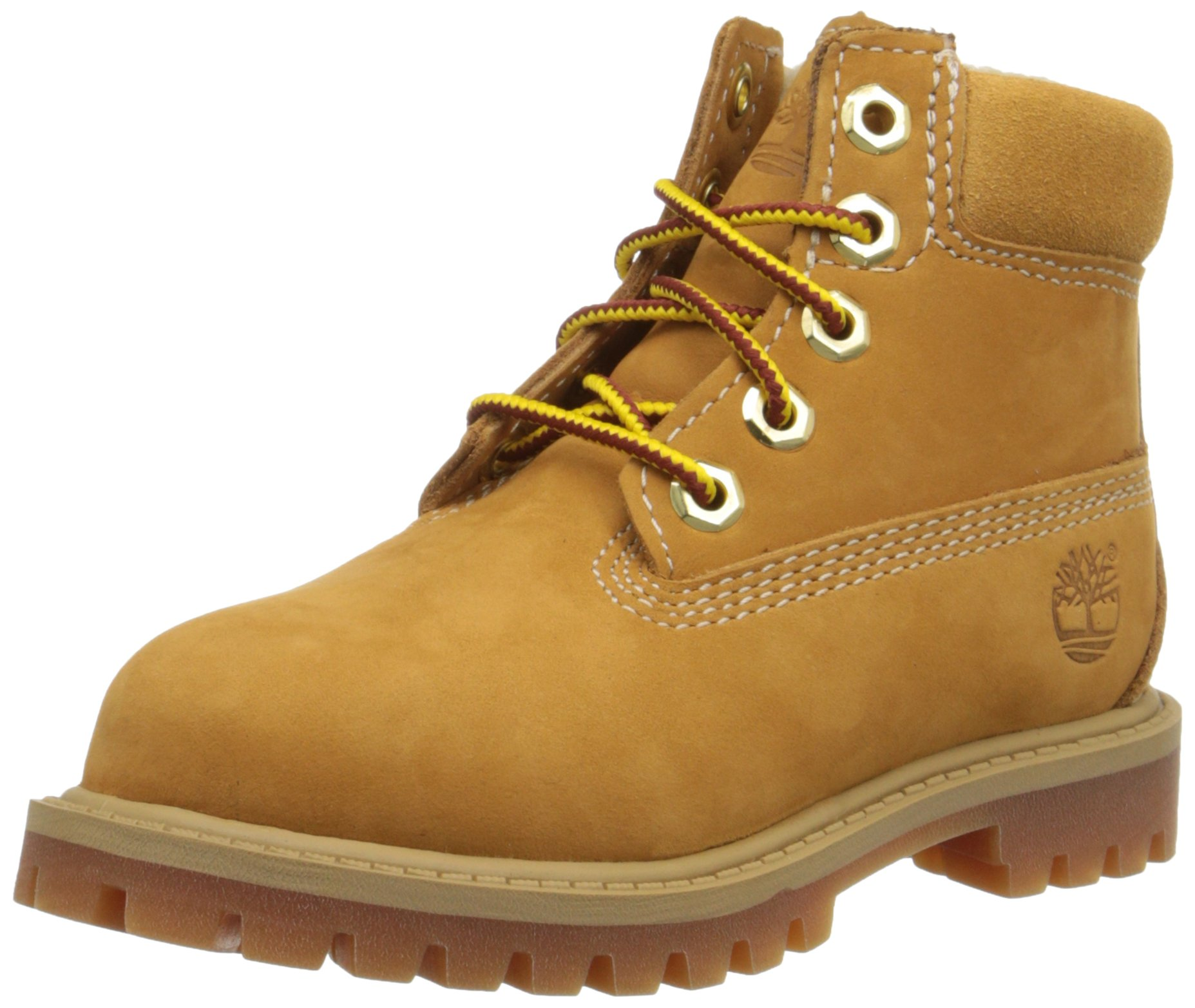 Timberland 6 Inch Premium With Faux Shearling Boot (Toddler/Little Kid/Big Kid), Wheat Nubuck, 4 M US Big Kid by Timberland (Image #1)