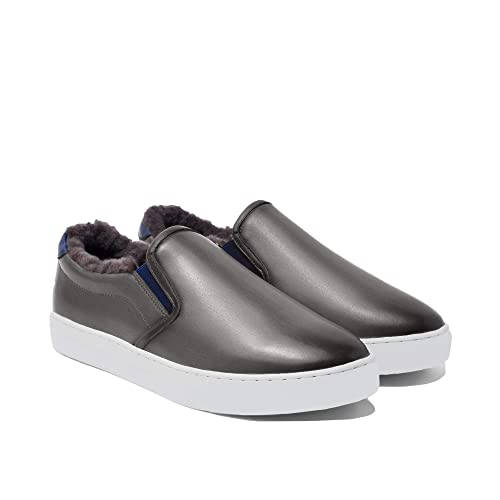 Silver Patina Leather Slip On Sneakers