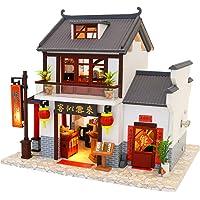 Flever Dollhouse Miniature DIY House Kit Creative Room with Furniture for Romantic Artwork Gift-Dragon Gate Inn