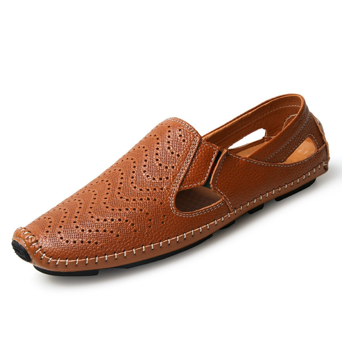 LXXAMens Verano Playa Cuero Real Sandalias De Secado Rápido Zapatos De Trekking Zapatillas De Atletismo,Brown-47EU 47EU Brown