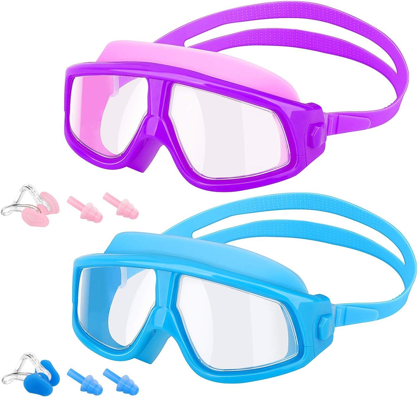 MoKo [2PZS Gafas de Natación para Niños con Protección Anti-vaho UV Sin Fugas de Visión Amplia Transparente con Tapones para Los Oídos y Pinzas para la Nariz