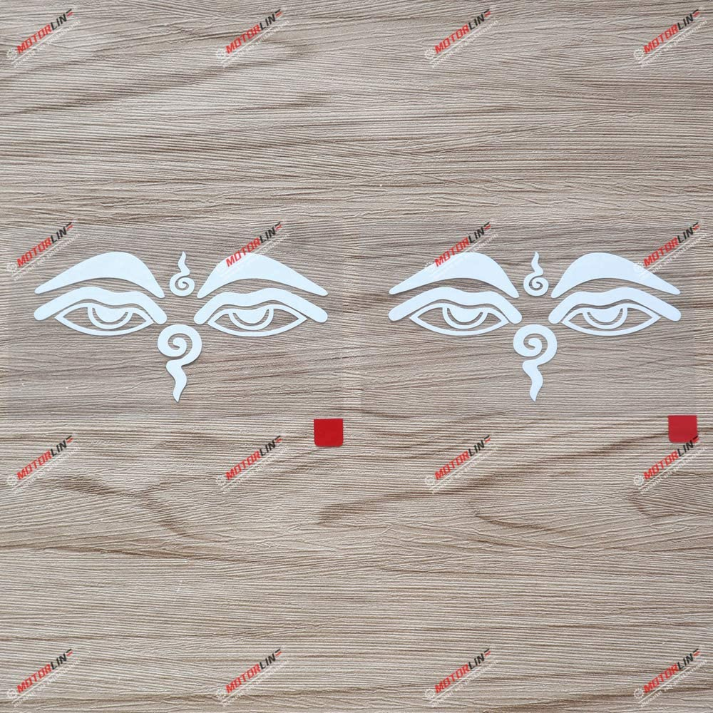2X White 4 Inches Buddha Eyes Nepal Decal Vinyl Sticker Car Laptop Window