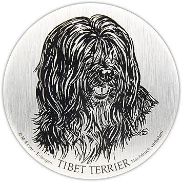 Schecker Selbstklebende Silberfarbene Metallplaketten Tibet Terrier Wetterfest Versiegelt Für Den Briefkasten Oder Auch Autoaufkleben Hochwertig Und Edel Warnschilder Esser Haustier