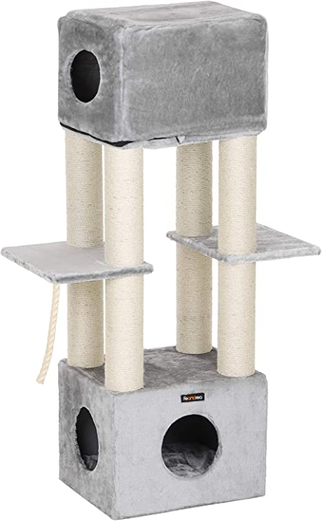Amazon Com Feandrea Cat Tree For Large Cat Cat Tower With 2 In 1 Perch Light Gray Upct04w Pet Supplies