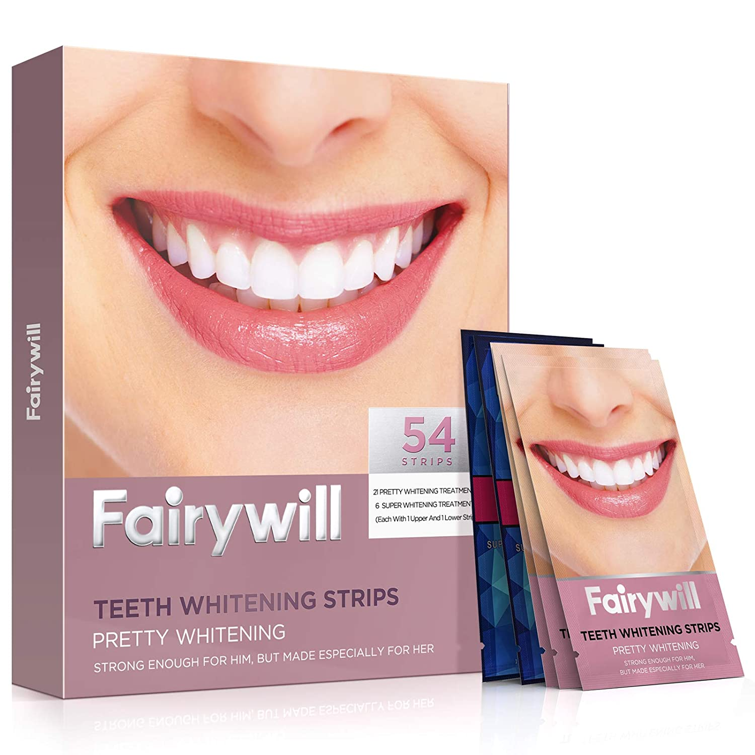 Fairywill Teeth Whitening Strips 54 Pcs, Advanced Dental Formula, Enamel Safe for Sensitive Teeth, Include Professional White Strips and 1 Hour Express 3D white Whitestrips