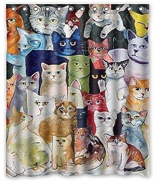 Funny Animal gatos gato impermeable tela cortina de ducha para baño, cortinas de baño moho resistente al ganchos: Amazon.es: Hogar