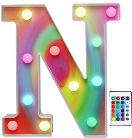 Rainbow Multiple Light up Letters with Remote, 16 Colors Alphabet Letter Lights LED Bar Signs for Wall, Table, Bedroom, Home Decor-Rainbow Letter N