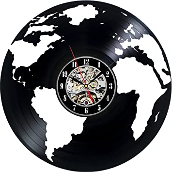 Amazon earth globe map world travel modern decorative vinyl earth globe map world travel modern decorative vinyl record wall clock this clock is a unique gumiabroncs Gallery