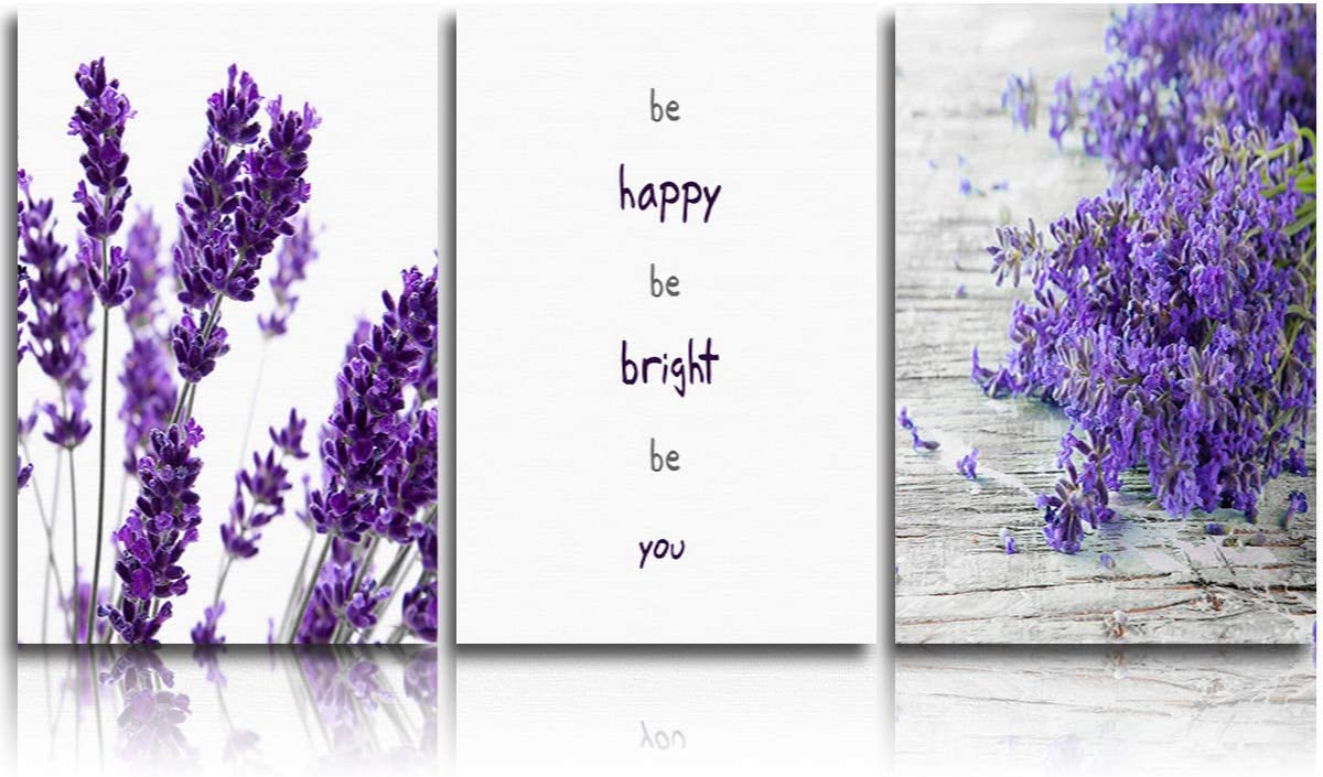 3 Piece Canvas WallArtOilPainting Elegant Purple Lavender Flowers, MordenArtworkPicture Prints Be Happy Be Bright Be You Quotes , FramedReadytoHang forLiving Room Office Bedroom 12x16inchx3