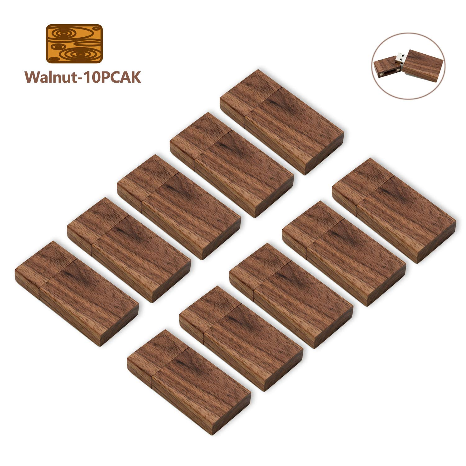 8GB USB Flash Drive 10 Pack, USB Drives 8 GB 10 PCS Wood Memory Stick JBOS Thumb Drives Gig Stick USB2.0 Pen Drive for Fold Digital Date Storage, Zip Drive, Jump Drive, USB Stick (Wooden Walnut)