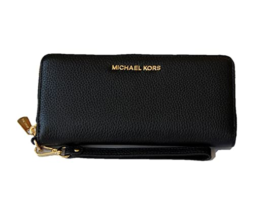 eab1c48750283a Michael Kors Jet Set Travel Continental Leather Wallet/Wristlet - Black/Gold:  Amazon.co.uk: Clothing
