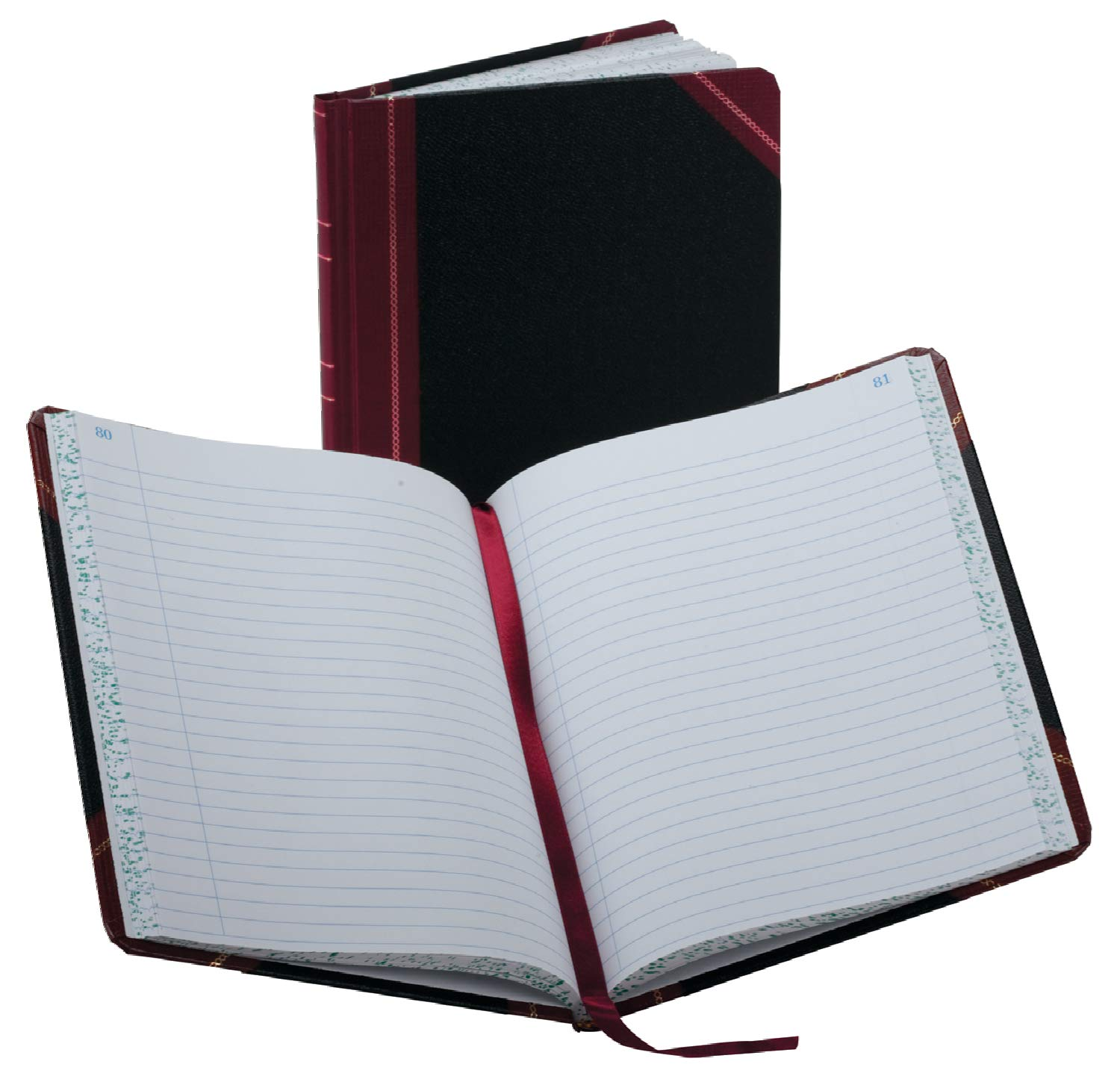Boorum & Pease 38150R Record/Account Book, Record Rule, Black/Red, 150 Pages, 9 5/8 x 7 5/8