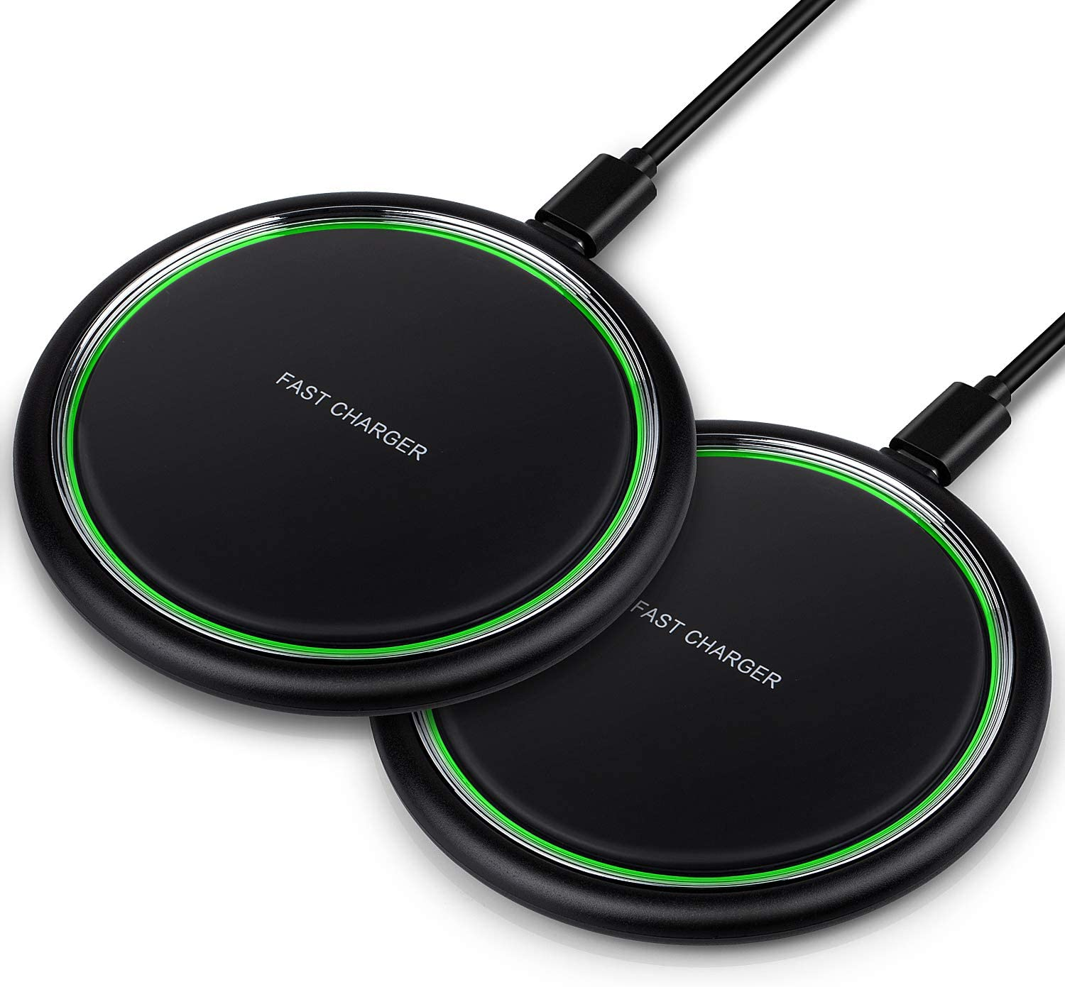 Wireless Charger, iSeekerKit 2 Pack 15W Max Fast Wireless Charging Pad Compatible for iPhone 11 Pro/XR/XS/X/8, Galaxy S10/S10e/Note10/9, Google Pixel 3/3XL, LG V30 V40(No Adapter)