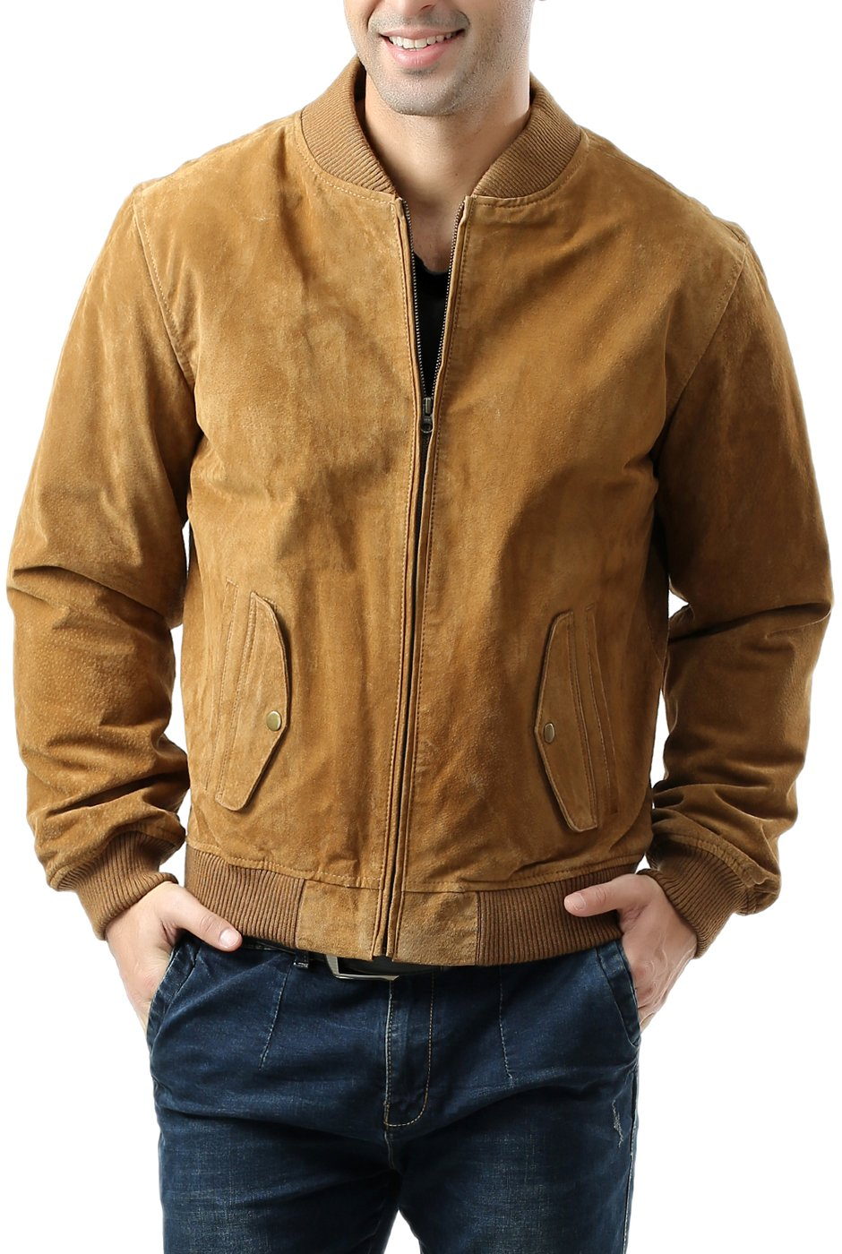 BGSD Men's Suede Leather Baseball Bomber Jacket,Camel,Medium by BGSD