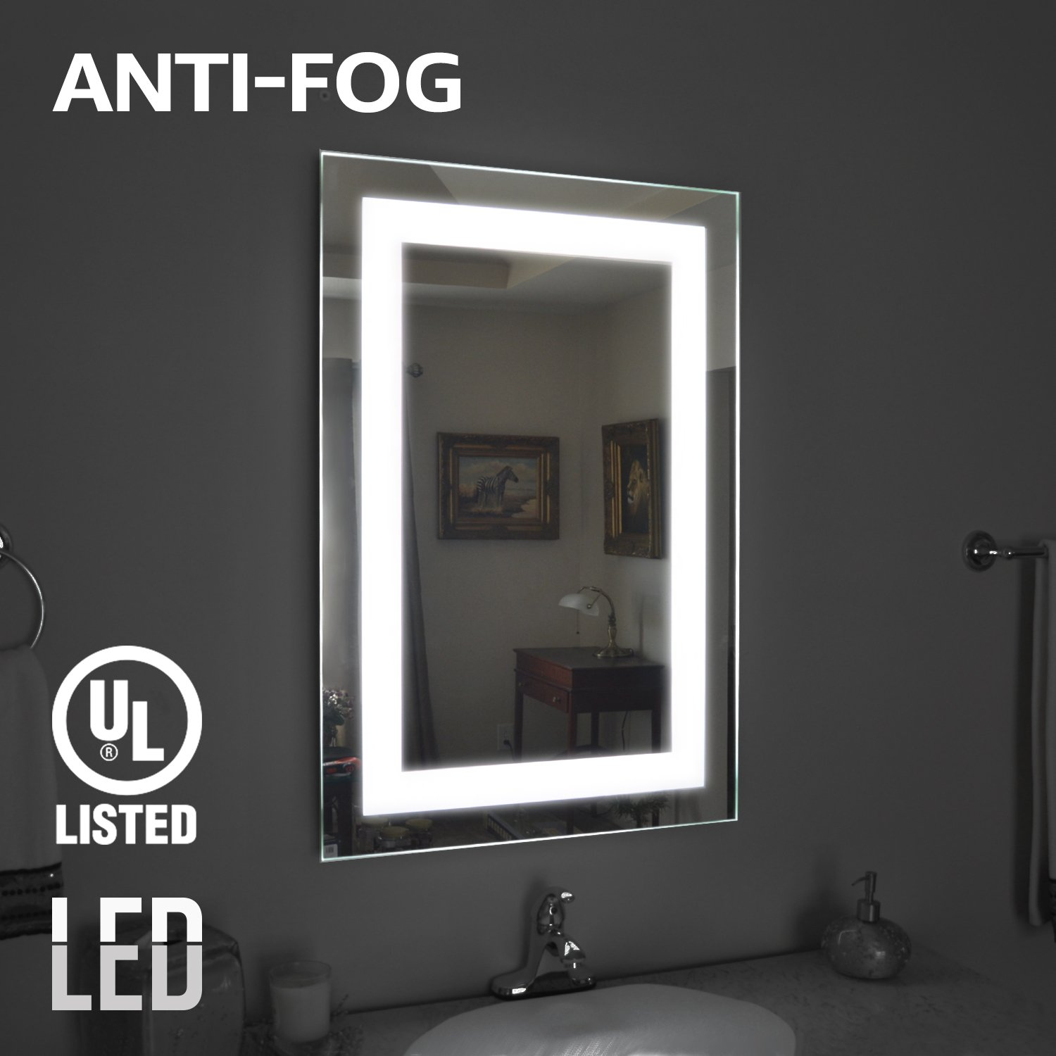 "Fogless LED Lighted Makeup Mirror, UL-listed, Wall Mounted Vanity Silver Mirror for Bathroom, SPA, Shower, Polished Edge, 32"" × 24"", Inner Rectangle Ring Frosted Photic Zone"