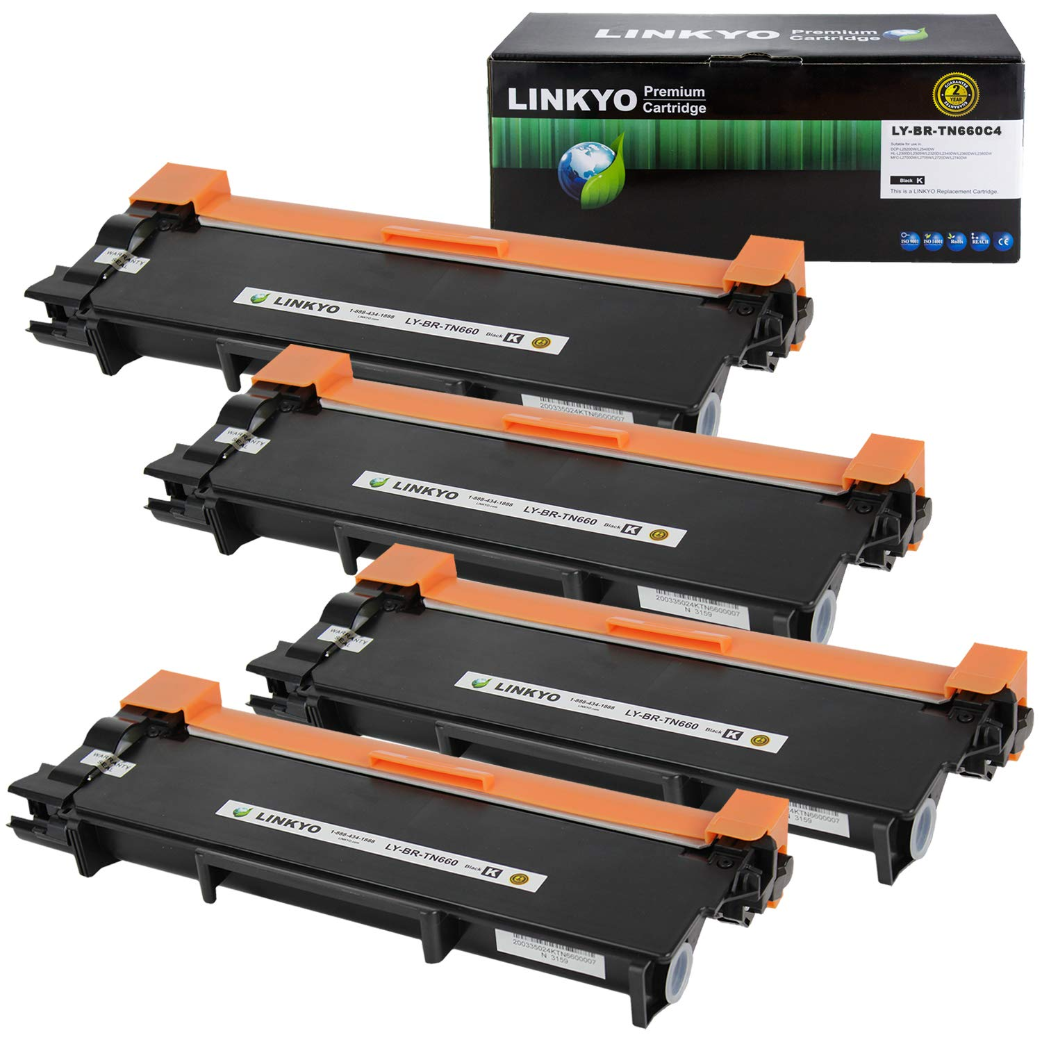 2 Black Valuetoner Compatible Toner Cartridge Replacement for Brother TN660 TN-660 TN630 TN-630 High Yield