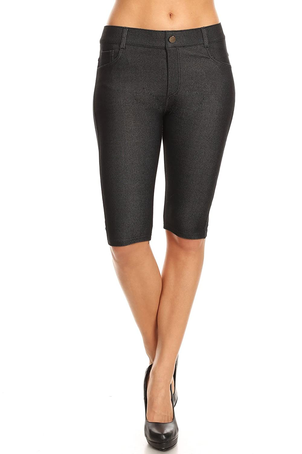 be4be111a6532 Bermuda length jeggings featuring a light sheen and jean-style  construction, Lightweight, breathable cotton-blend material for all day  comfort